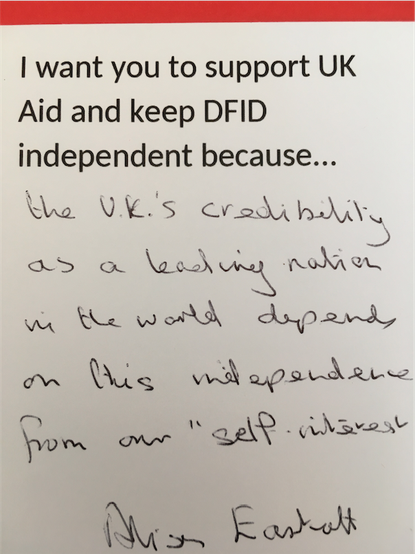 MP postcard in support of UK Aid