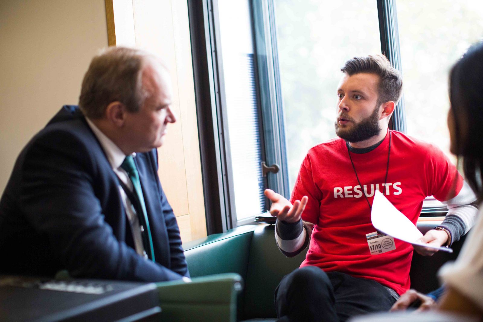 RESULTS campaigner speaks with parliamentarian