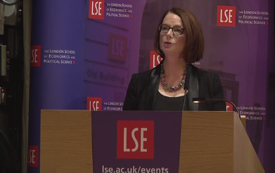 Julia Gillard speaking at LSE event, Education For All: Meeting the Challenges of the 21st Century