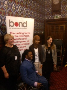 Picture of speakers: Caroline Harper, CEO of SightSavers, Ade Adepitan, Annisa Rahmania and Lynne Featherstone MP.